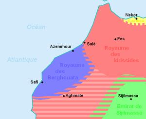 Barghawata - Barghawata Confederacy (blue).