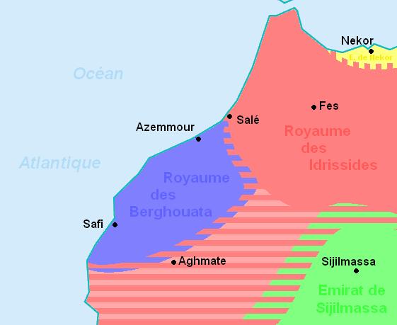 Barghawata Confederacy (blue).