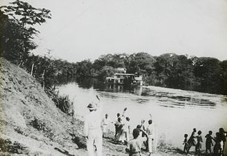 Congo-Balolo Mission - Congo-Balolo Mission's landing on the Congo River (c. 1910).