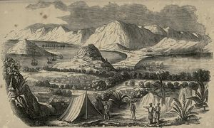Battle of the Barrier - View of the barrier between Macau and China (published 1844)