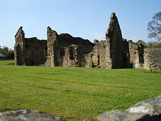 Basingwerk Abbey ruin of an abbey near Holywell, Flintshire, Wales
