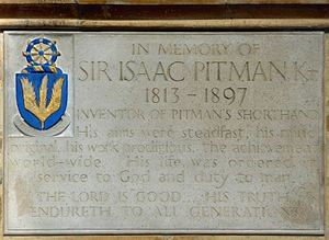 Isaac Pitman - Memorial plaque of Isaac Pitman in Bath Abbey