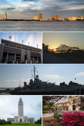 From top, left to right: Downtown, Tiger Stadium, Horace Wilkinson Bridge, USS Kidd, Louisiana State Capitol, Foster Hall of LSU