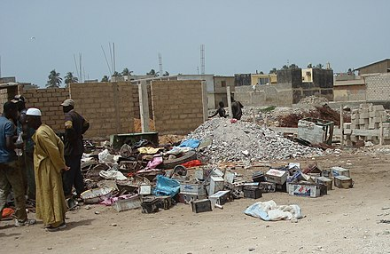 Battery collection site in Dakar, Senegal, where at least 18 children died of lead poisoning in 2008 Batteries at Thiaroye.jpg