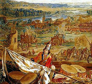 Royal Scots Greys - Part of the Battle of Blenheim tapestry at Blenheim Palace by Judocus de Vos. In the background is the village of Blenheim; in the middle ground are the two water mills that Rowe had to take to gain a bridgehead over the Nebel. The foreground shows a British grenadier with a captured French colour. At the Battle of Blenheim, while most other cavalry regiments wore tricorn hats, the Scots Greys wore the mitre hat, similar to those worn by grenadiers.