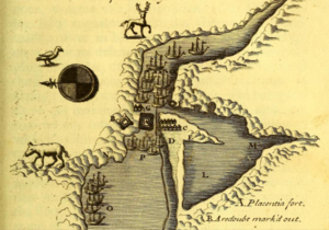 Battle of Placentia (1692) - Battle of Placentia (1692) - English fleet south of fort; French fleet north of fort