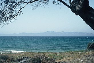 Artemision Bronze - Beach at Cape Artemisium where the statue was found. Magnesia in the distance.