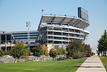 An image of Beaver Stadium from the side on a sunny day.