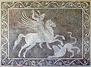 Bellerophon killing Chimaera (mosaic from Rhodes).jpg