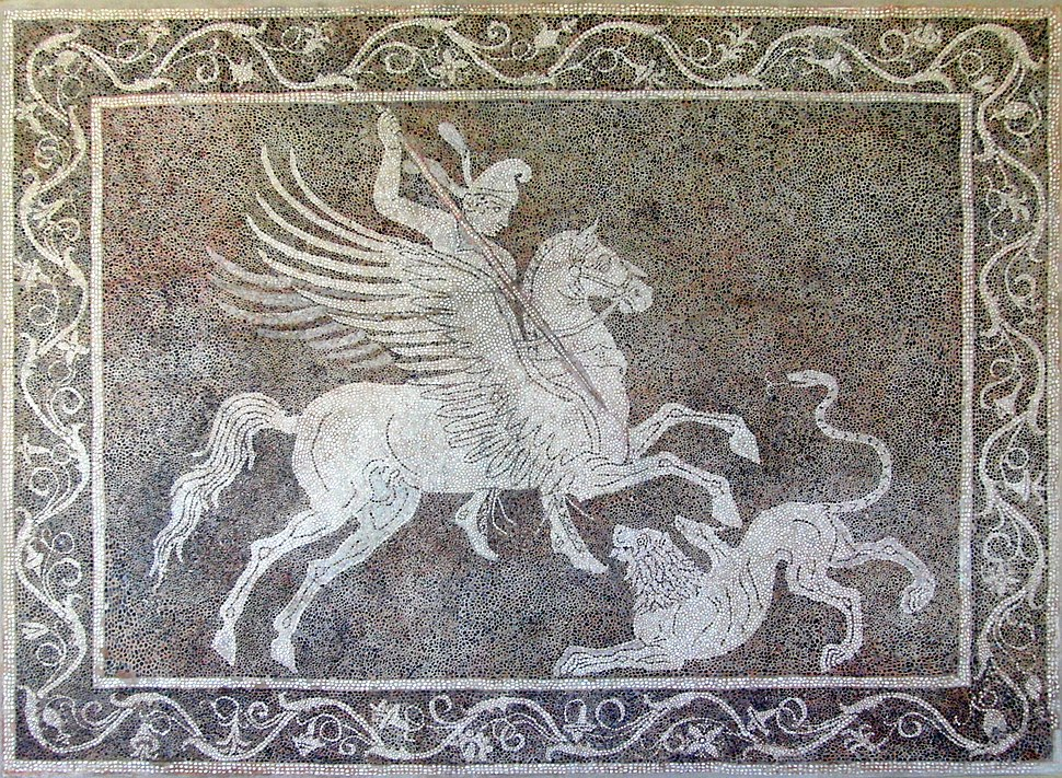 Bellerophon killing Chimaera (mosaic from Rhodes)
