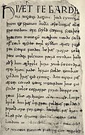 The first page of Beowulf, one of the most important woks of Anglo-Saxon literature.