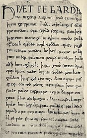 The Old English epic poem Beowulf is written in alliterative verse and in paragraph form, not separated into lines or stanzas.