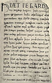The first page of the Beowulf manuscript
