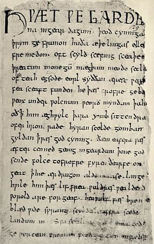 The Old English epic poem Beowulf is written i...