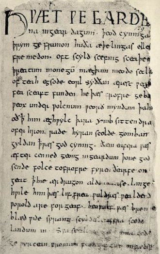 Grendel's mother - The first page of the Beowulf manuscript.