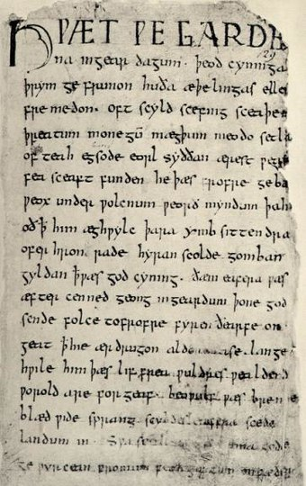 The first page of the poem Beowulf, written in Old English in the early medieval period (800-1100 AD). Although Old English is the direct ancestor of modern English, it is unintelligible to contemporary English speakers. Beowulf.firstpage.jpeg