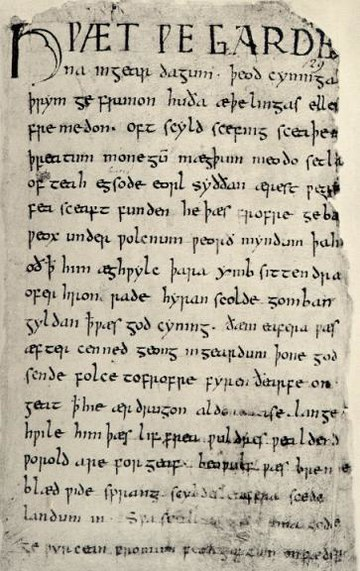 First page of the epic Beowulf Beowulf.firstpage.jpeg