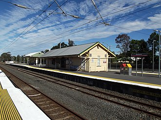 Bethania railway station - Southbound view from Platform 1 in July 2012