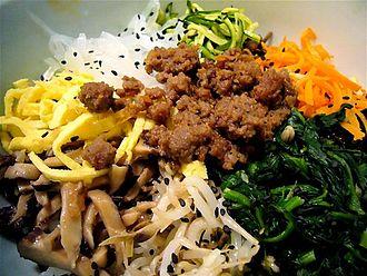 Korean royal court cuisine - Closeup of the ingredients in goldongban or bibimbap