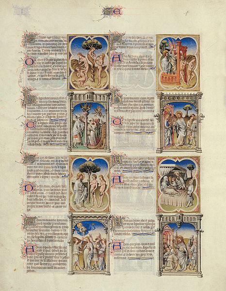 File:Bible moralisée de Philippe le Hardi - BNF Fr166 - Folio 3v.jpg