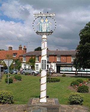 Village sign - Biddenden village sign of the two maids of Biddenden