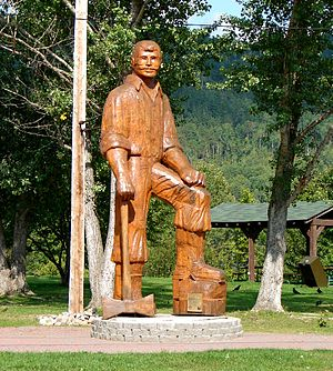 Canadian folklore - A carved wood statue of folk hero Big Joe Mufferaw in Mattawa, Ontario. The character was based on the exploits of lumberjack Joseph Montferrand.