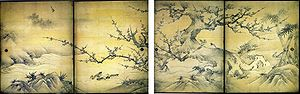 Kanō Eitoku - Image: Birds and flowers of the four seasons