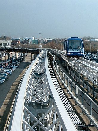 Cable Liner - The Birmingham Airport system, showing how it is built on the old Maglev guideway