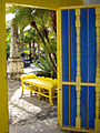 Blue and yellow welcome to Bonnet House.JPG