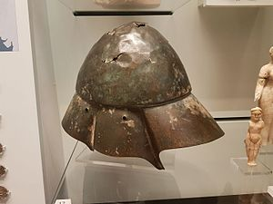 Boeotian helmet - Boeotian bronze helmet found in the River Tigris in Iraq, the front of the helmet is to the right, it is held at the Ashmolean Museum, Oxford