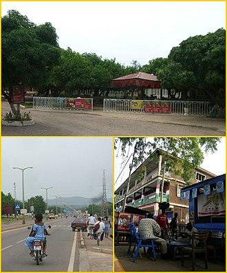 Bolgatanga - First-top picture: Avenue Landscape and Hotel in Bolgatanga • First-bottom picture: Highway in Bolgatanga • Second-bottom picture: Restaurant in Bolgatanga.