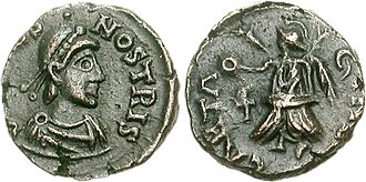 Vandals - Coin of Bonifacius Comes Africae (422–431 CE), who was defeated by the Vandals.
