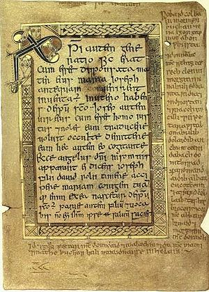 Scottish Gaelic grammar - The 10th-century Book of Deer contains the oldest known Gaelic text from Scotland, here seen in the margins of a page from the Gospel of Matthew.