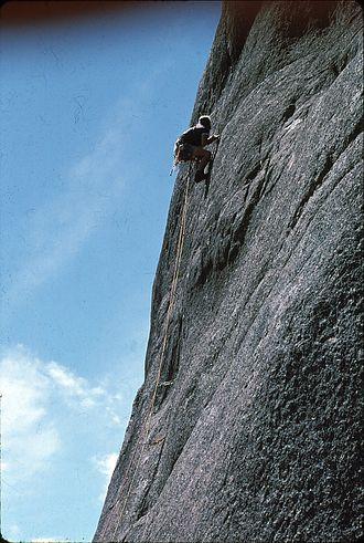 Booroomba Rocks - Peter Mills climbing Integral Crack at Booroomba Rocks in 1976