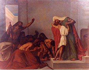 Joseph (Genesis) - Joseph Recognized by His Brothers (1863 painting by Léon Pierre Urbain Bourgeois)