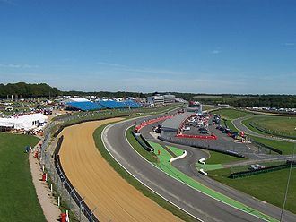 Brands Hatch - View of Brabham Straight and the pits from above Clark Curve