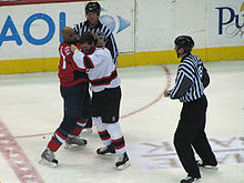 Donald Brashear fighting Sheldon Brookbank.