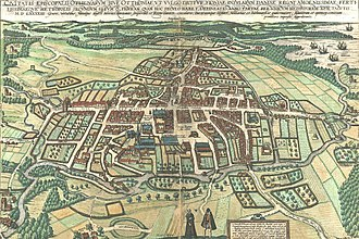 Odense - Braunius map of Odense from 1593