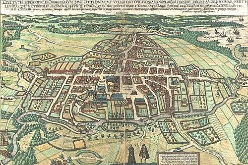 e27f464a Det ældste kort over Odense er Brauniuskortet fra 1593. Byen ses ovenfra,  og hovedgaderne Vestergade-Overgade og Nørregade ses tydeligt.