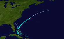 Storm track of a tropical storm that formed east of Florida and moved northeast out to sea.