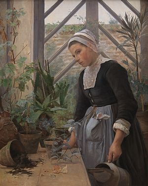 Anna Petersen - Image: Bretagne pige ordner planter i et drivhus