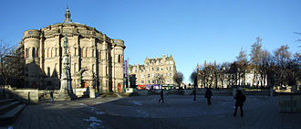 McEwan Hall - Bristo Square panorama looking towards Bristo Place showing the square before the 2015 redevelopment.