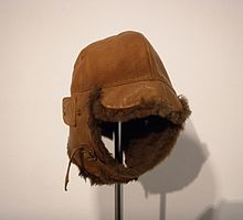 Brown leather cap with ear flaps, lined with fur, 1920.jpg