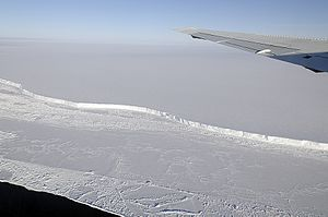 Brunt Ice Shelf - View of Brunt Ice Shelf from the maiden flight of Operation IceBridge's Antarctica 2011 campaign with NASA's DC-8