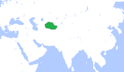 The Emirate of Bukhara (green), c. 1850.