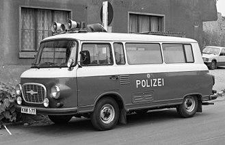 History of the Volkspolizei - Image: Bundesarchiv B 145 Bild F089036 0034, Köthen, Polizeitransporter Barkas