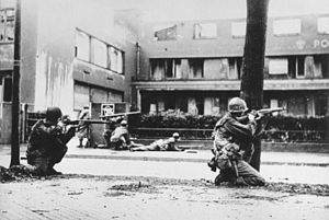 William F. Dean - US 44th Infantry Division troops fighting at Mannheim, Germany in 1945.