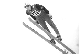 Ski jumping techniques - Hans-Georg Aschenbach using the Däscher technique, 1973