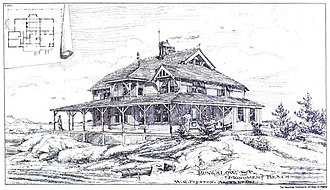 """William G. Preston - """"Bungalow at Monument Beach, Massachusetts"""" (1879) from the March 27, 1880 edition of American Architect and Building News"""