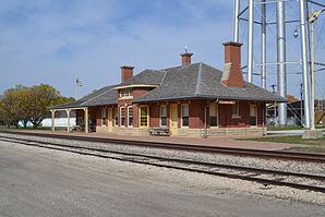 Burlington, Cedar Rapids and Northern RR Station, Clarion, IA.JPG